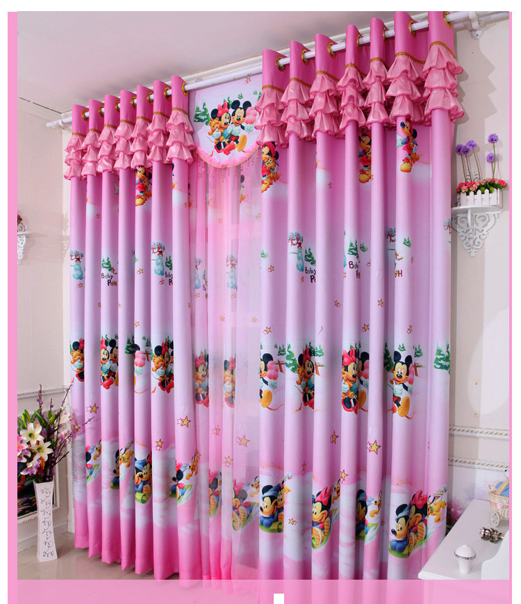 Wholesale-Home window decoration cartoon Children\'s curtains Pink Mickey  blackout curtain Girls bedroom curtains for window