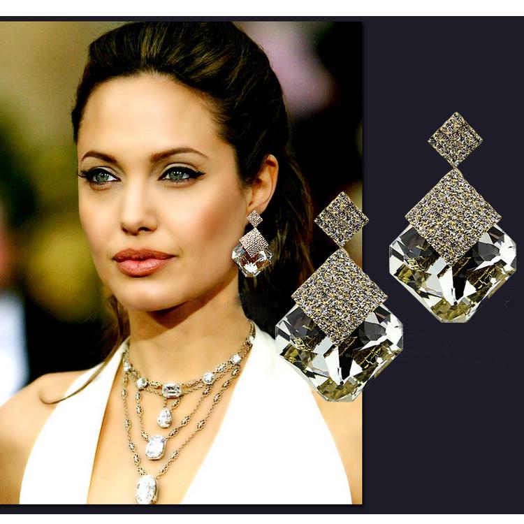 925 стерлингового серебра серьги двух подарков cz алмаз большой brincos заявление болтаться падение длинные серьги для женщин Свадебные украшения e407
