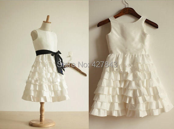 3-Taffeta Layer Dress Girl Wedding White Wedding Dress Girl Kids Bridesmaid Dress Flower Girl Dress for Wedding Custom Made