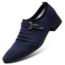 2020 г. Новая классическая парусиновая обувь с острым носком мужские черные оксфорды без шнуровки, официальная Мужская обувь Большие размеры ...(China)