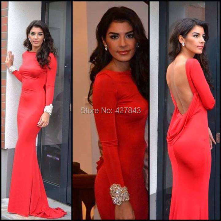 Free Shipping High Neck Backless Red Women Formal Evening Party Dress Long Sleeves Prom Dress 2014