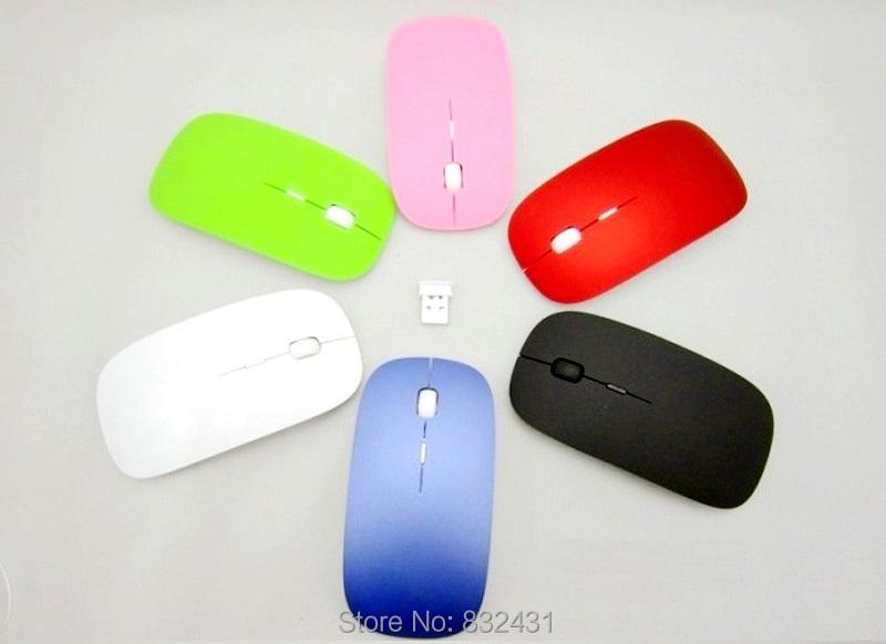 ססגוניות מיני אולטרה דק דק 2.4 Ghz עכבר אלחוטי גלול מחשב PC עכברים עכבר אופטי