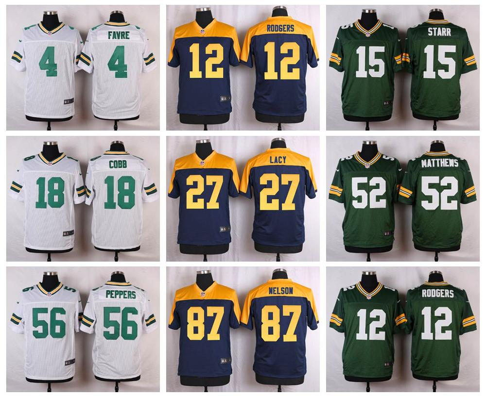 100% Stitiched, Green Bay Packers Аарон Роджерс, эдди лейси, Рэндалл Кобб, Клей Мэттьюз, Бретт фавр Кенни Кларк, настраиваемый(China (Mainland))