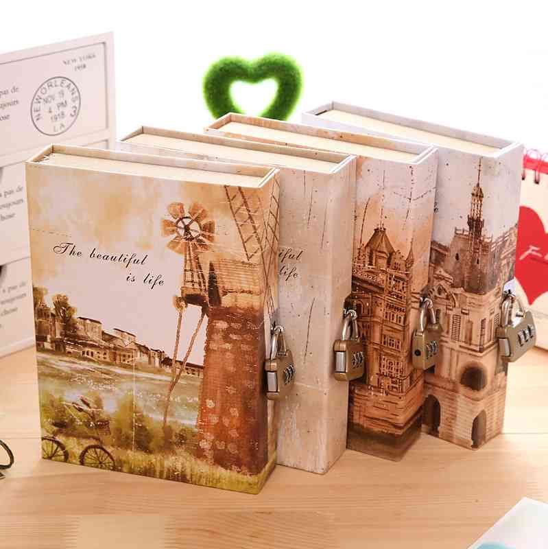 Golden valley vintage fashion diary with lock boxed notebook 88sqm hard copy notepad<br><br>Aliexpress