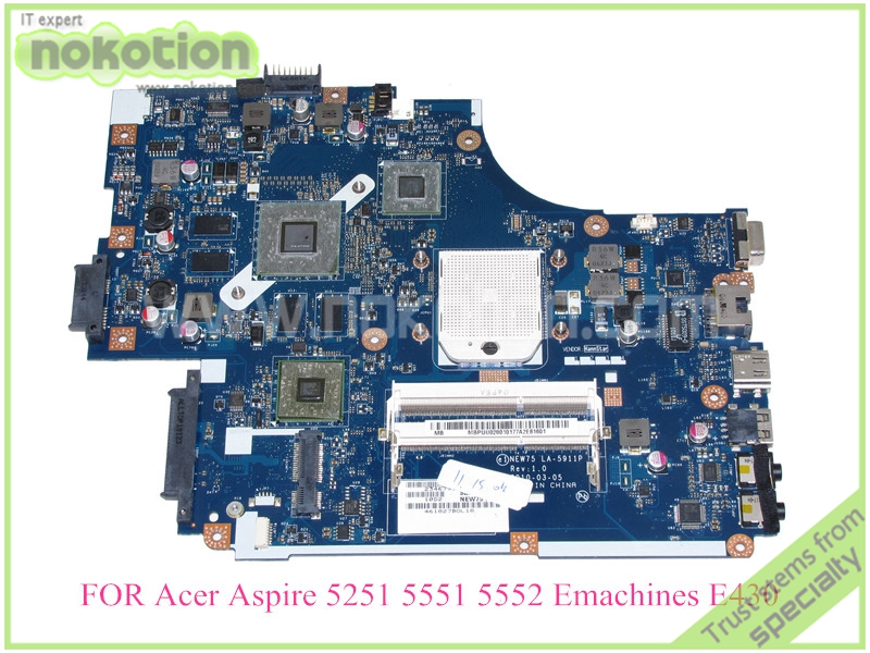 laptop motherboard for ACER ASPIRE 5251 5551 5552 eMachines E430 MBPUU02001 LA-5911P AMD ATI 5650M DDR3(China (Mainland))