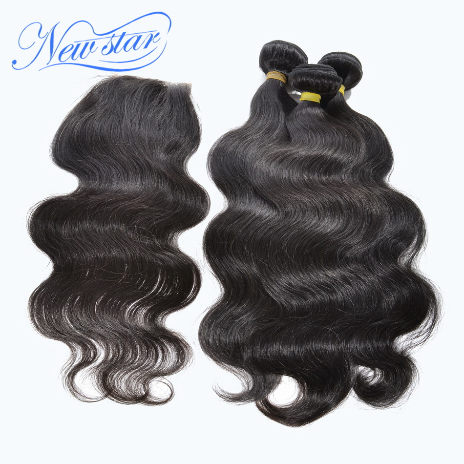 hot sale new star virgin hair mongolian hair body wave human extensions 3 bundles with one lace free part closure free shipping