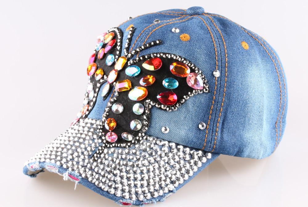 Полный кристалл горного красочный-бабочка Snapback стразами джинсовые солнце бейсболка женские шапки 2 цвет