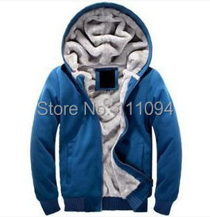 Thick fleece sweatshirt male thickening outerwear hood plus velvet winter jacket men - Men's clothing base store