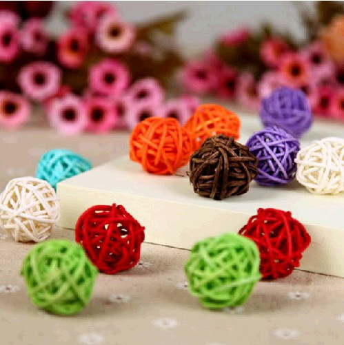Free Shipping 50pcs/Lot 3cm Party Decoration Rattan Ball,Wedding And Home Decoration Ornament Craft Ball(China (Mainland))