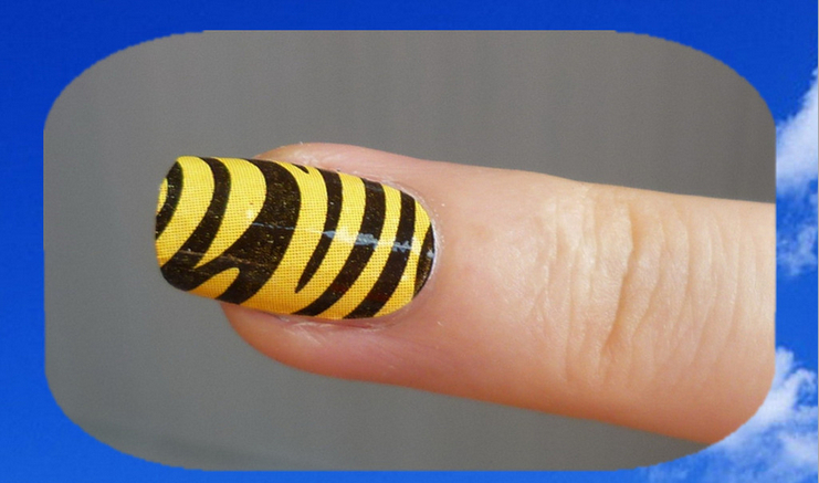 Min.order is $5 Nail Polish Stickers Wraps Art Decoration Sexy Yellow Black Stripe Design Adhesive Minx Beauty Manicure Tools(China (Mainland))