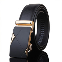 Fashion Belts Men/Women Automatic Buckle Genuine Leather silver/Gold Skull buckle Unisex Business Belt Waist Waistband