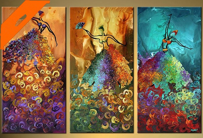 Hot sales oil painting three pictures combination modern for Decor mural a tapisser
