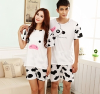 2016 New Summer Lovers' Pyjamas Men And Women's Cotton Short Sleeve Milk Cow T-shirt And Pants Home Wear Sets Free Shipping