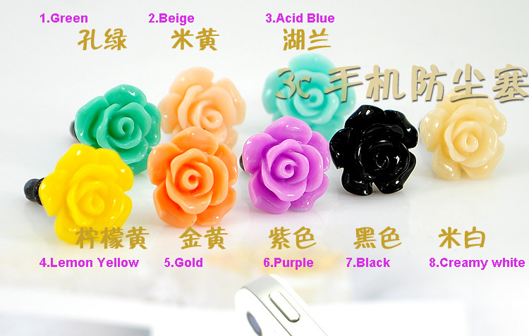 2015 Fashion Style Beautiful Mobile Plug Rose Flower Mobile Phone Plug,MP3 MP4 Plug Earphone Jack Plug XZ045 Free Shipping(China (Mainland))