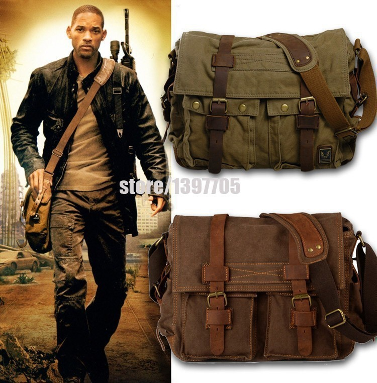 HOT Canvas Crossbody Bag Men,I AM LEGEND Will Smith Military Army Vint