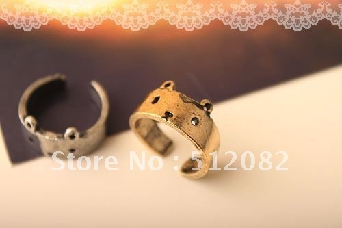 12pc/lot Fashion style Retro Magic Cute Bear Face Adjustable Ring Gift  2 color 6 Bronze+6Copper  Free Shipping