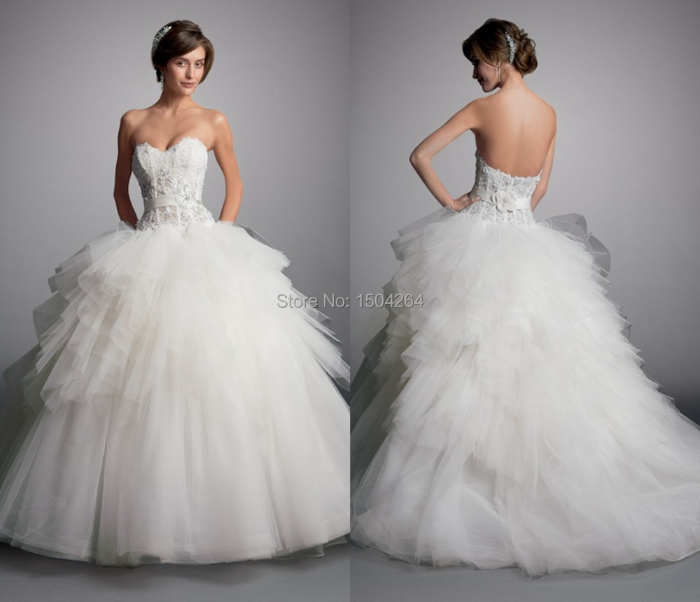 Sweetheart Ball Gown Wedding Dress Backless Bride Dresses Elegant Wedding Gowns With Appliques
