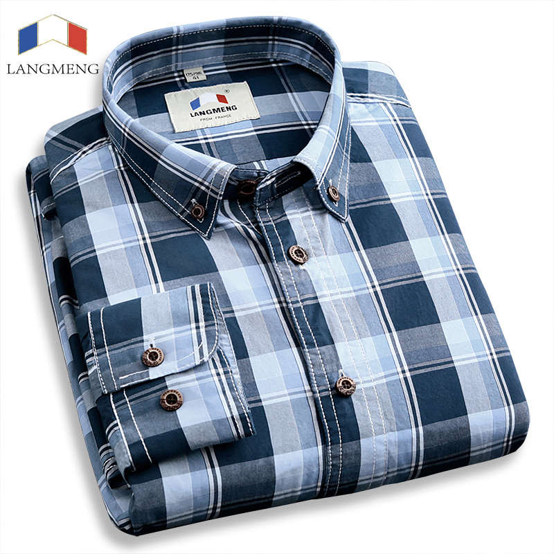 brand hot selling fashion mens long sleeve plaid shirt business high quality dress shirts for spring autumn camisetas masculinas(China (Mainland))