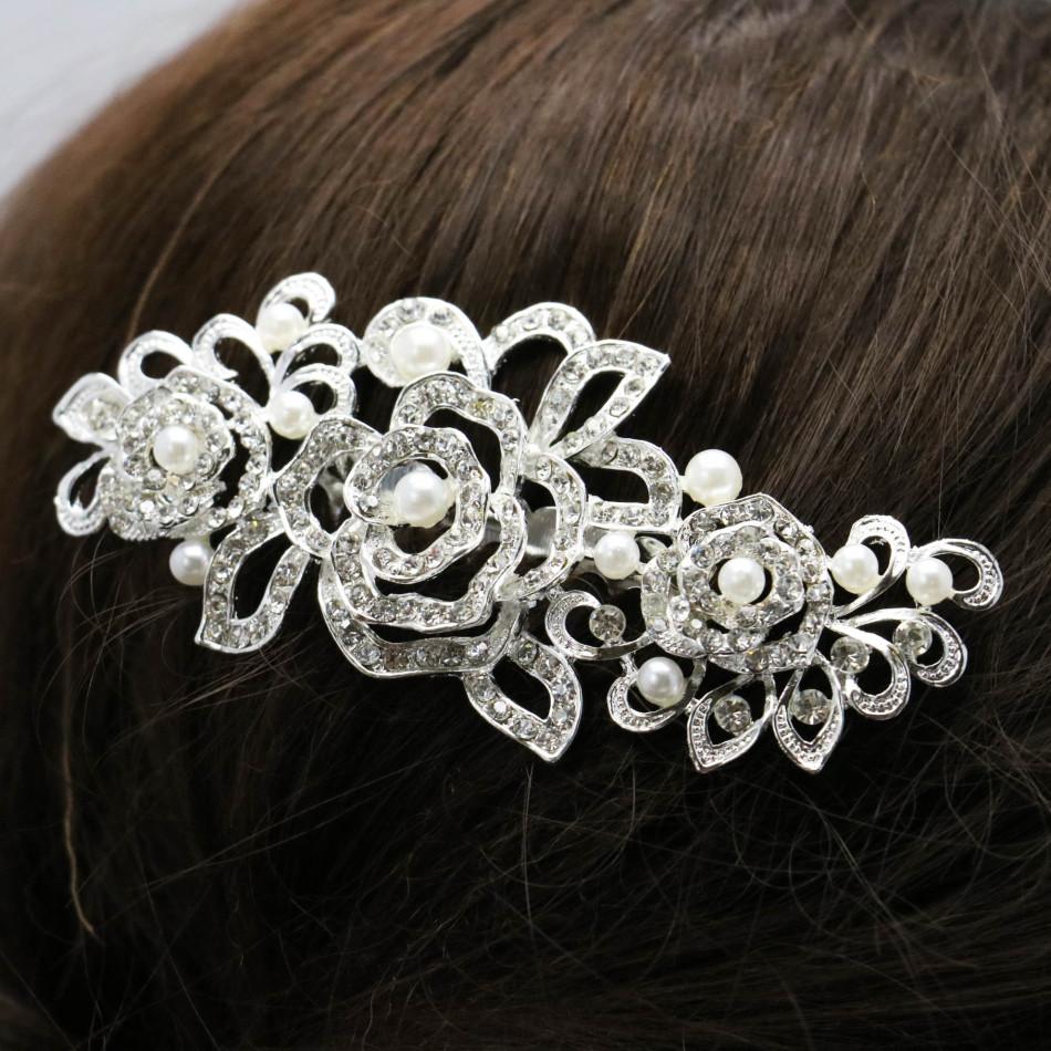 Trendy Hairwear Women Accessories Wedding Bridal Crystal Rhinestone Flower Faux Pearls Hairpins Hair Comb Jewelry 105*58cm(China (Mainland))