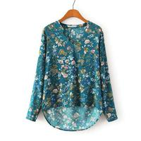 Women vintage floral V neck blouses long sleeve shirts Blusas Femininas European casual brand tops plus size hot sale