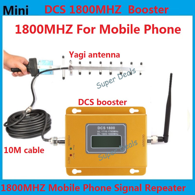 Full Set Mini 70db LCD 2G 4G LTE DCS 1800MHz Mobile phone cell phone signal repeater booster amplifier with 13db yagi antenna(China (Mainland))