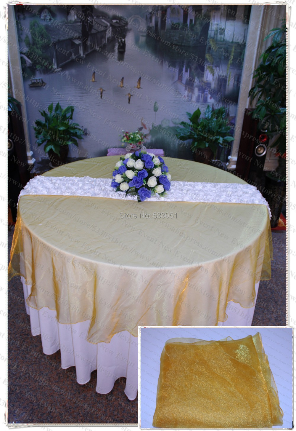 210cm Round NO.33 Light Orange Organza Table Overlay/Table Cover/Tablecloth For Wedding Party Home Hotel Banquet Decorations(China (Mainland))