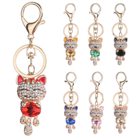 Lucky Smile Cat Crystal Rhinestone Keyrings Key Chains Holder Purse Bag For Car christmas Gift Keychains Jewelry llaveros DM#6