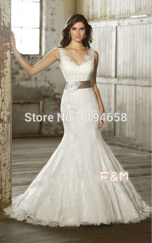 Long white dress with lace overlay