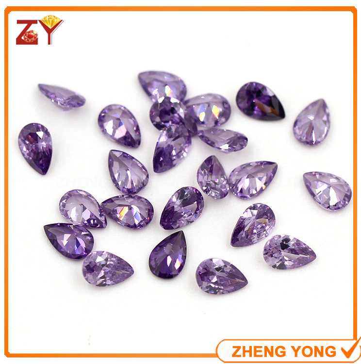 3*5mm Pear Shape Normal Cut Loose Gemstone Amethyst Synthetic CZ Stone<br>