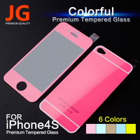 JG Colorful Tempered Glass Film For iphone 4 4s 2pcs/lot Front+Back Full Screen Protector with color Side Stickers Free Shipping