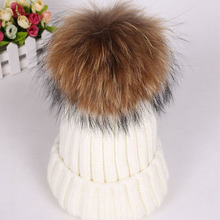 2015 Winter Knitted Real Fur Hat Women thicken Beanies Hats with 14-15cm Raccoon Fur Pom poms Caps snapback beanie skullies(China (Mainland))