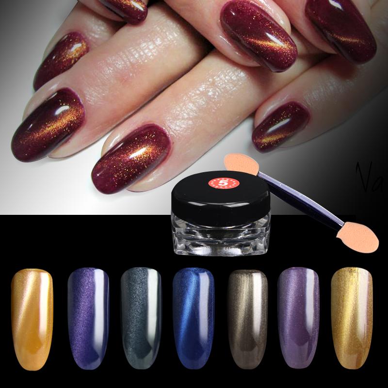 hot selling 1Box 3D Cat Eyes Magnet Nail Glitter Powder 2pcs brush Magic Magnetic Glitter Dust UV Gel Manicure Nail Art PigmentS(China (Mainland))