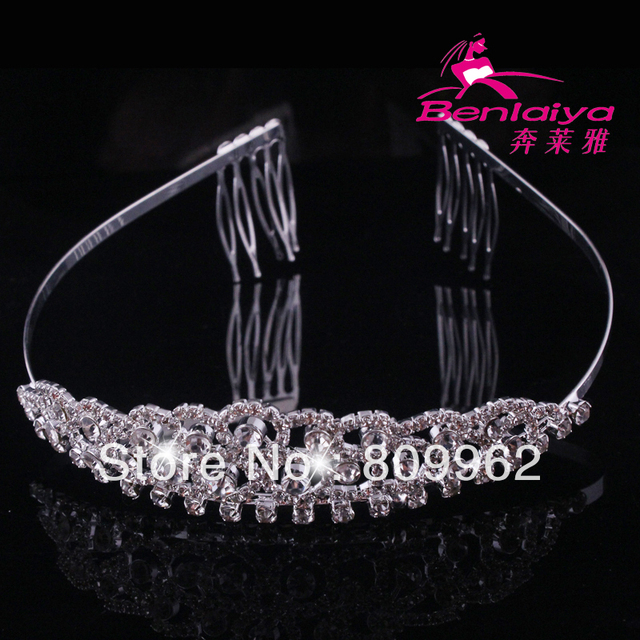 Summer Sale Free Shipping 4pcs/lot Rhinestone Wedding Tiara Bridal Crown Crystal Jewelry Wedding Accessories Silver Plated