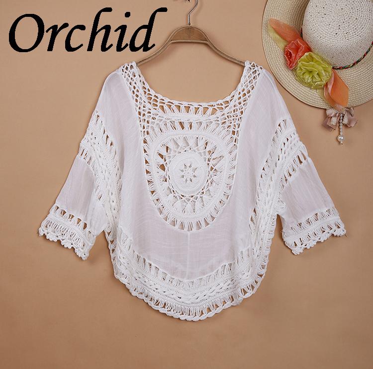 Lose Boho People Beach Patchwork Crochet Blouse Casual Bikini Cover up Women Summer Shirt