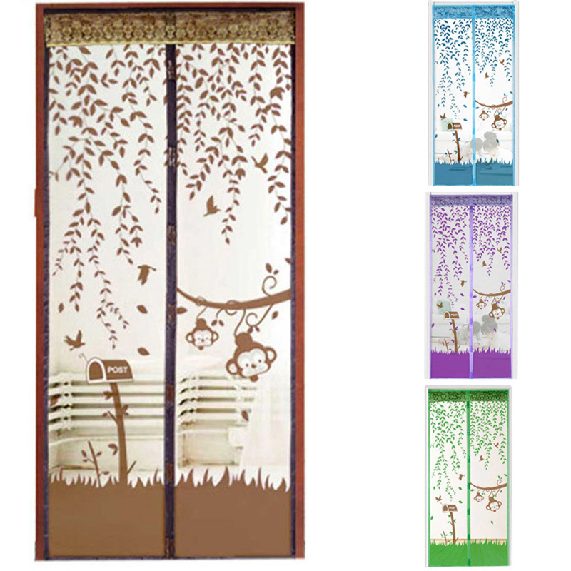2016 Durable Hot Sale 4 Colors 2 Size Romantic Leaves Summer Style Mesh Prevent Mosquito Window Curtains for Home Decoration(China (Mainland))