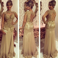 Hot Champagne Long Prom Dresses Gold Appliqued 2017 Sexy High Collar Mermaid Evening Party Gowns Chiffon