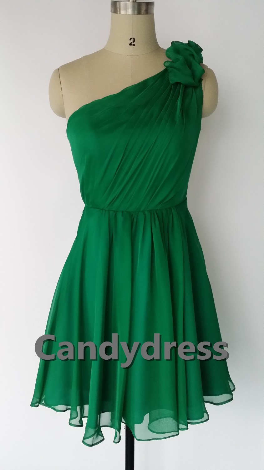 Green emerald green one shoulder knee length for Emerald green dress wedding guest