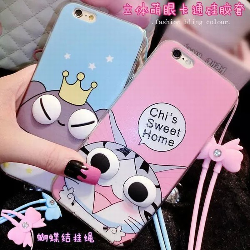 Big Eyes Series Case Iphone 6 6S Plus Phone Housing New Cartoon Cute Girl Cat Voles Minion Pattern TPU Back Cover - LONWAY Electronics technology Co. Ltd store