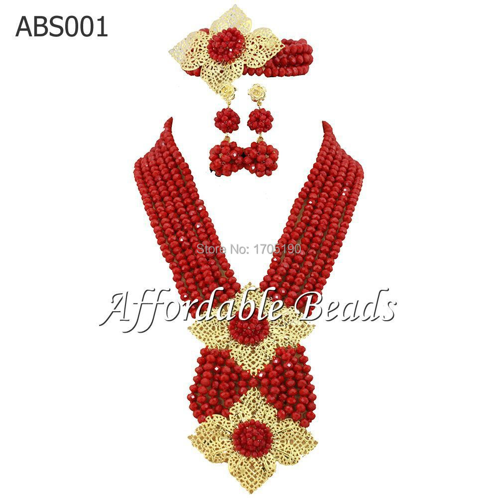 2015 Hot Nigerian Wedding African Beads Jewelry Set Party Crystal Beads Brial Jewelry Set Gold Plated Free Shipping ABS001(China (Mainland))