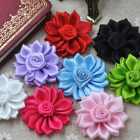 10pcs Lots Satin Ribbon Flowers Bows W/Peal Rose Appliques 35mm B282
