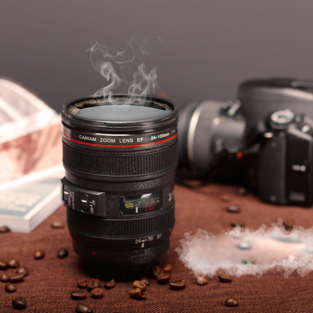 Coffee Camera Lens Mug Thermos Cup Funny Cool Emulation Camera Scale Special Present Plastic Milk Beer Coffee Mug Cup KC1230(China (Mainland))