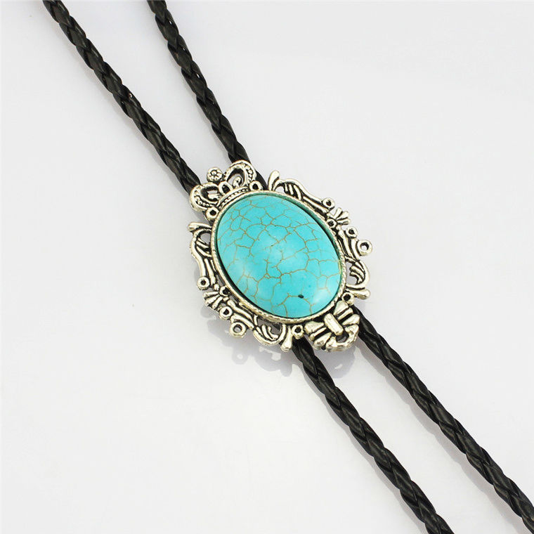 Wholesales Man Turquoise Bolo Tie Silver Squash Indian Liquid Large Man Gentleman Gift Necklace Original Charm Perfect