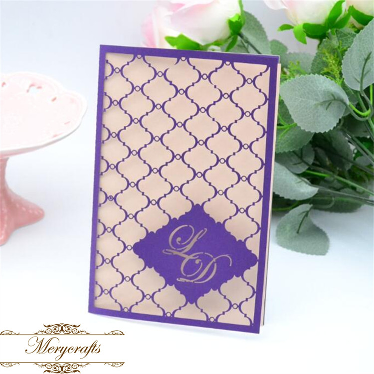Ideal products personalized initials design laser cut indian wedding card with blank insert(China (Mainland))