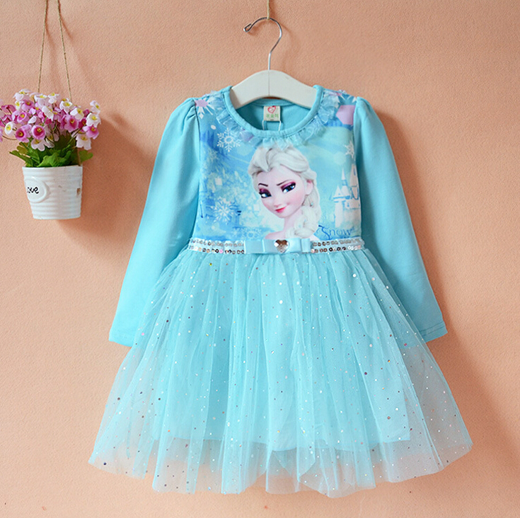 Girls Spring Dress Baby Kids O-neck Cartoon Printed Bowknot Tutu Dress Children Lace Dress Blue/Pink Color<br><br>Aliexpress