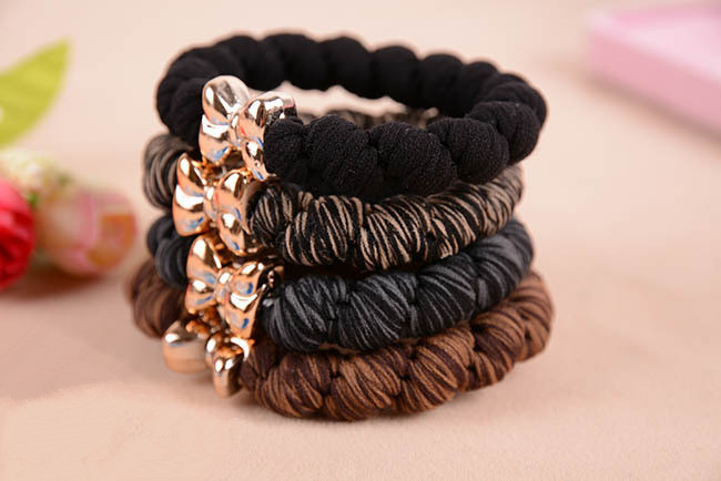10pcs/lot Gold Plated Bowknot Button Big Black Elastic Ponytail Holders Hair Accessories Cute Girl Women Rubber Bands Tie Gum(China (Mainland))