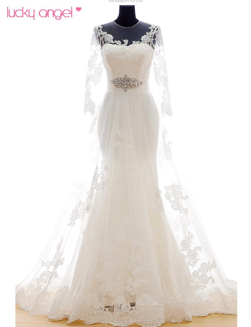 2016 Spring Bridal Dress Series Simple Church Wedding Dresses Full Sleeve Long Train A-line Waistline Lace vestido de noiva(China (Mainland))