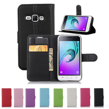 "Buy Samsung Galaxy J1 2016 SM-J120F SM J120F 4.5"" Leather Phone Case SM J120 J120F Cover Samsung J 1 2016 Flip Wallet Case for $3.19 in AliExpress store"