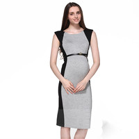 Elegant Summer Maternity Dresses Gray Black Patchwork O Neck Sleeveless Party Evening Pregnant Women Fashion Dresses