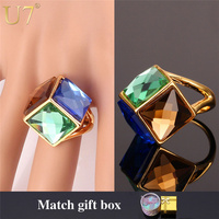 Crystal Ring 2015 New Trendy Quality 18K Real Gold Plated Colorful Fancy Stone Party Jewelry Wedding Bands Ring For Women R352