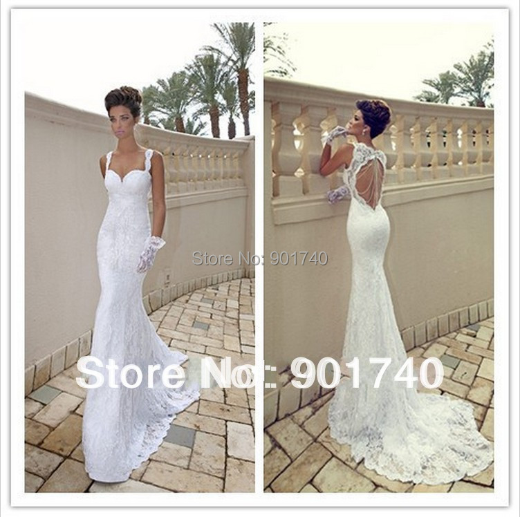 Custom made sexy spaghetti strap sweetheart ivory lace for Sexy open back wedding dress